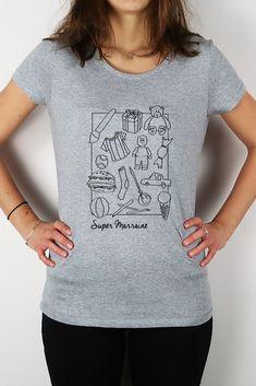 Offrez à la marraine de votre enfant ce T-shirt Super Marraine en coton bio tout doux et super agréable à porter. Coton Biologique, T Shirt, Women, Fashion, Gifts, Everything, Child, Supreme T Shirt, Moda