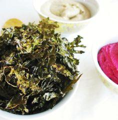 Kale Chips   servewithtea Fall Recipes, Snack Recipes, Healthy Recipes, Snacks, Paleo Food, Healthy Foods, Kale Chips, Seaweed Salad, Japchae