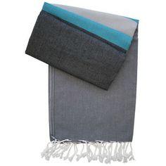 Pestemal Alexa anthrazit mit schwarz und petrol - neue Pestemal-Kollektion. Turkish Towel Alexa from our new collection