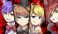 Bony, Freddy, Chica, and Foxy. Omg I have a nickname for my friend and I'm not going to say but his nickname is Bony lol haha