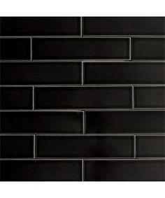 Ceramic Subway Tile Glossy Black Color Licorice | Modwalls Designer Tile