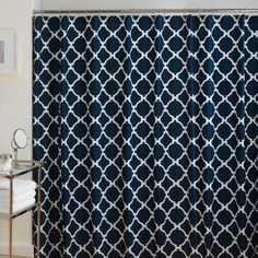 #manythings Add a simple and chic touch to your bathroom with the #Jill #Rosenwald Hampton Links Shower Curtain. In 100% cotton twill, the navy and white print is...