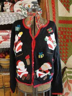 BAD SANTA! Size L Beautiful or Hilariously Ugly Christmas Sweater ~ Santa Falls Down Drunk! | eBay
