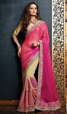 Look effortlessly pretty in this pink, cream chiffon and georgette half n half sari. You could see some intriguing patterns done with butta, lace and resham work. Upon request we can make round front/back neck and short 6 inches sleeves regular saree blouse also. #AwesomeDesignerSareeCollection