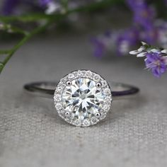 Halo Diamond Moissanite Engagement Ring in 14k White Gold Halo Wedding Ring 7x7mm Forever Brilliant Moissanite Solitaire Ring by LaMoreDesign on Etsy https://www.etsy.com/listing/205955060/halo-diamond-moissanite-engagement-ring