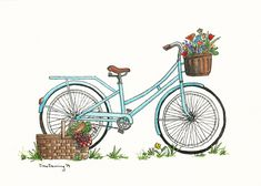 Items similar to Picnic Bike - Watercolor Print - Art Print - Vintage Bike Art - Garden Bike - Flowers - Turquoise Bike on Etsy Bike Illustration, Watercolor Illustration, Watercolor Bird, Watercolor Paintings, Bicycle Art, Bicycle Shop, Lake Art, Ball Jars, Hand Designs