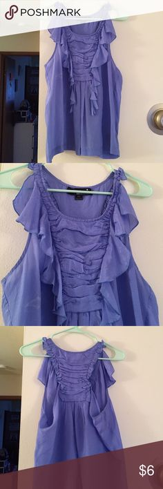 XXI Collection Blue Ruffle Tank Slight fading/maybe bleach? mark on right side along with another small stain - both shown in picture 4. 100% silk. XXI Tops Blouses