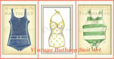Vintage Bathing Suit Art - such a fun collection! #coastalart