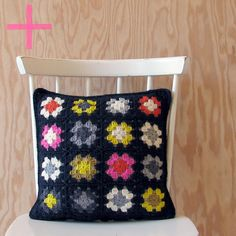 Crocheted Granny Square Pillow Cover in Black with by YarningMade