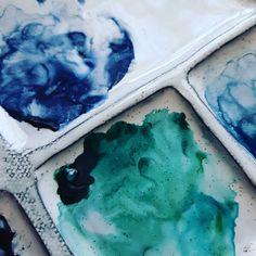 Turquoise Art, Oceans, Palette, Colours, Watercolor, Winter, Green, Handmade, Blue