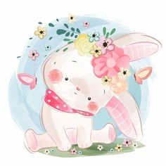 Cute bunny in spring Premium Vector Cute Animal Illustration, Cute Animal Drawings, Cute Drawings, Cartoon Mignon, Illustration Mignonne, Art Mignon, Cute Animal Videos, Baby Art, Cute Images