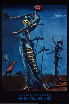 A colorful poster of the Salvador Dali painting Burning Giraffe (1935)! Filled with Freudian imagery from Dali's subconscious mind. Fully licensed. Ships fast. 24x36 inches. Check out the rest of our