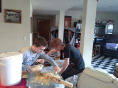 Harvesting honey in basement!!!messy