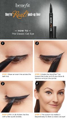 The Classic Cat Eye HOW TO featuring Benefit's They're Real! Push-Up Liner #Sephora #howto #beautytutorial @benefitgals