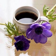 coffe and flowers Coffee Vs Tea, I Love Coffee, Coffee Cafe, Coffee Drinks, Good Morning Coffee, Coffee Break, Happy Morning, Coffee Cookies, Coffee Dessert