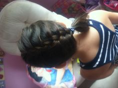 Cute hairstyle for girls diagonal French braid