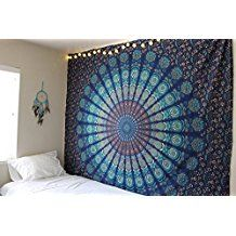 Marubhumi Blue Tapestry Wall Hanging Mandala Tapestries Indian Cotton Bedspread Picnic Bed sheet Blanket Wall Art Hippie Tapestry, Queen, 90 x 85 Inches Tapestry Bedding, Blue Tapestry, Mandala Tapestry, Tapestry Wall Hanging, Wall Hangings, Mandala Blanket, Mandala Throw, Dorm Tapestry, Bohemian Bedspread