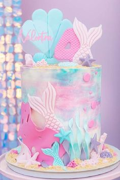 Don't miss this enchanting mermaid birthday party! You really don't want to miss this beautiful birthday cake! See more party ideas and share yours at CatchMyParty.com