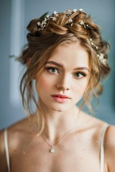10 Flower Crown Hairstyles for Any Bride Milkmaid braids are always a win for boho brides. This flower crown hairstyle would look gorgeous in any forest wedding. The post 10 Flower Crown Hairstyles for Any Bride appeared first on Best Of Likes Share. Wedding Hair And Makeup, Hair Makeup, Hair Wedding, Wedding Braids, Wedding Dresses, Hairstyle Wedding, Crown Braid Wedding, Makeup Hairstyle, Winter Wedding Hairstyles