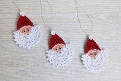 Crochet Santa Claus Face, Crochet Christmas Ornament Set of Handmade Christmas Applique Christmas Applique, Crochet Christmas Ornaments, Christmas Ornament Sets, Christmas Bells, Handmade Christmas, Christmas Crafts, Christmas Gnome, Christmas Decorations, Crochet Santa