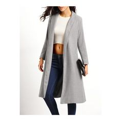 SheIn(sheinside) Lapel Pockets Long Grey Coat (1,300 THB) ❤ liked on Polyvore featuring outerwear, coats, grey, pocket coat, long coat, grey coat, long sleeve coat and shawl collar coat