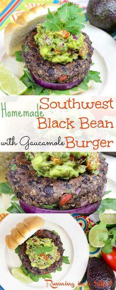 Easy & Healthy Homemade Southwest Black Bean Burgers with guacamole. A vegetaria… Easy & Healthy Homemade Southwest Black Bean Burgers with guacamole. A vegetaria… – Burgers – Vegetarian Grilling, Grilling Recipes, Veggie Recipes, Whole Food Recipes, Vegetarian Recipes, Cooking Recipes, Healthy Recipes, Homemade Veggie Burgers, Vegetarian Burgers
