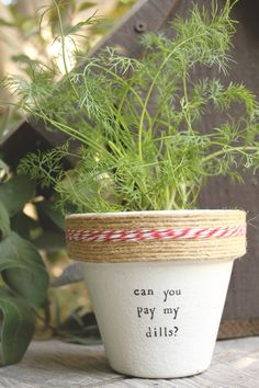 """Destinys Childs Dills 4"""" and 6"""" pots available for your dill herb! Pot does not include plant. These hand painted and stamped pots are perfect for your indoor herb garden! All pots made by Plant Puns are sealed with an earth safe finish for safe growing and consumption of edible herbs. Pots contain a drainage hole. Is this a gift?! Send us a message and we'll be sure to include a special note from YOU free of charge! If you're looking for a set of herbs be sure to check out our specials…"""