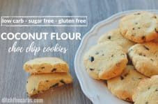 Quick and easy sugar free, gluten free, coconut flour chocolate chip cookies.   ditchthecarbs.com