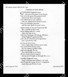 Elton John's Song 'Candle in the Wind' for Diana