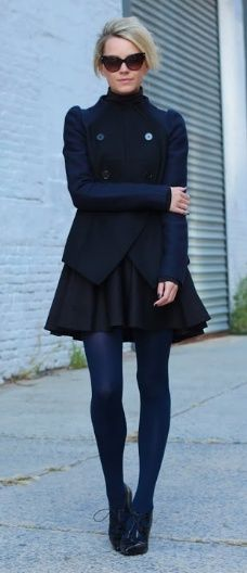 navy blue tights, black oxfords, black skirt, navy blue long sleeved shirt, black vest sunglasses, outfit, fall 2014, mixing navy blue and black