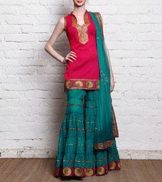 Pink & Sea Green Printed Cotton Sharara Set With Gota Work