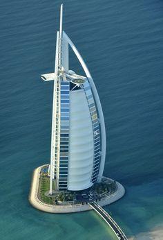Burj Al-Arab Hotel aerial view in Dubai, United Arab Emirates.