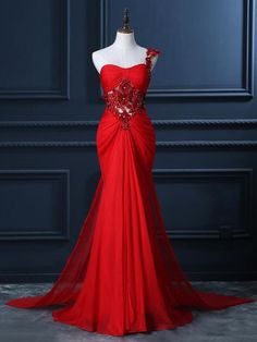 One Shoulder Chiffon with Beading Unique Red Trumpet/Mermaid Prom Dress