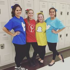 decorate big t shirts with various social media apps for a group Halloween costume