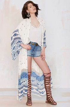 Sewell Women's Chiffon Polka Dot Kimono Cardigan Long Blouses Bikini Covers Up Tops at Amazon Women's Clothing store: