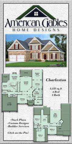 Craftsman House Plan: 3,153 square feet, 4 bed, 3 bath, Charleston