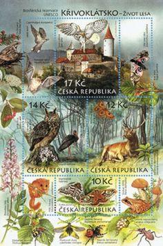 Czech stamp sheet Nature protection: The Křivoklátsko region - a UNESCO biosph.
