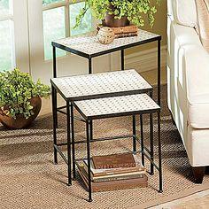 3-Piece Travertine Nesting Tables
