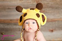 pdf giraffe crochet hat pattern 0-3 month only- Im so making this for @Meghan Thomas