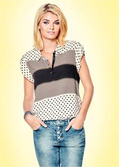 Blusa branco/preto/marrom estampado encomendar agora na loja on-line bonprix.de R$ 99,90 a partir de Blusa de manga curta, confeccionada em malha leve e de ...