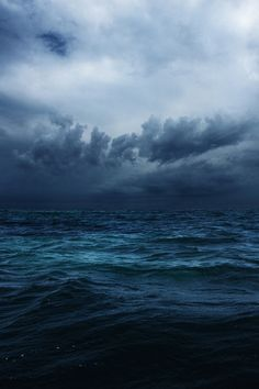 Stormy blue seas and clouds