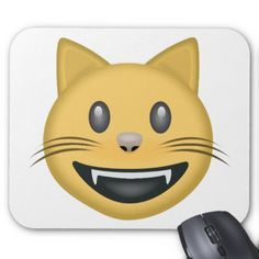 Smiling Cat Face With Open Mouth Emoji Mousepads