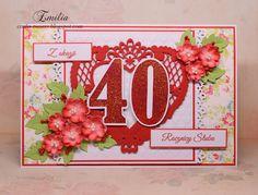 40 rocznica ślubu na czerwono/Kartka na rocznicę ślubu/Wedding anniversary card