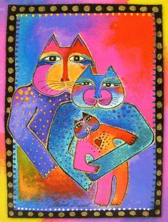 Leanin' Tree Laurel Burch Kitty Cat Congratulations Joy New Baby Greeting Card