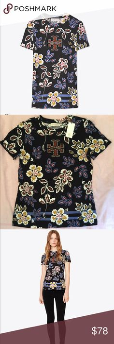 🆕 Tory Burch greta tee 💯% authentic Tory Burch greta t-shirt NWT crew neck short sleeve soft slubby 💯% Cotton iconic double T logo pierced stripes @ hem island inspired tropical florals color Black Hopewell never been worn Tory Burch Tops Tees - Short Sleeve