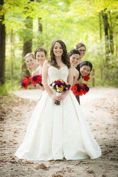 Fall Wedding Photography   Nature   Bride & Bridesmaids #weddingphotography