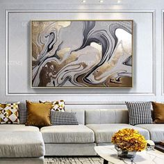 Gold leaf Abstract Acrylic Paintings On Canvas Original art black and gray Extra Large Wall Pictures Art Dinning room Decor hand painted – Modern Oil Painting Abstract, Abstract Wall Art, Painting Frames, Acrylic Paintings, Acrylic Art, Large Wall Pictures, Pictures To Paint, Art Decor, Room Decor