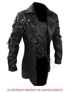 Mens REAL Black Brown Red Leather Goth Matrix Trench Coat Steampunk Gothic - T18