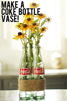 How to make free (and adorable) centerpieces or flower vases from recycled Coke bottles! These soda pop bottle vases are free and easy to make!