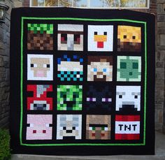I just finished a queen sized minecraft quilt!  I really like the wider outside border that I had to add to make this quilt big enough...